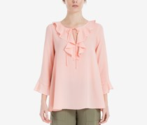 Women Ruffled Three-Quarter-Sleeve Blouse, Pink/Blush