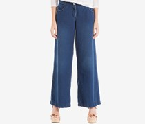 Max Studio London Cotton Wide-Leg Jeans, Dark Blue Wash