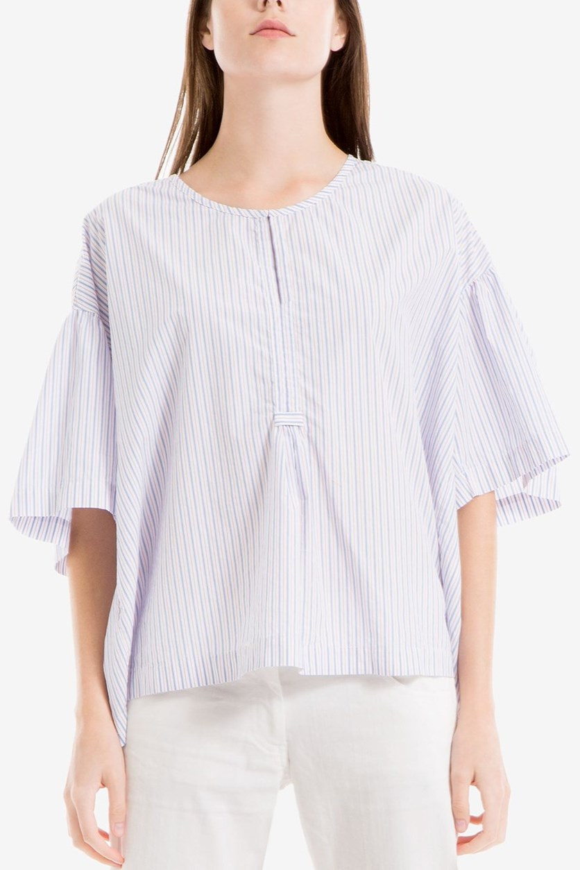 Women Striped Boxy Top, Blue/Red Stripe