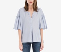 Max Studio London Ruffle-Sleeve Popover Top, Blue Pinstripe
