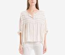 Striped Popover Top, White/Navy/Red