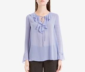 Max Studio London Ruffled Bell-Sleeve Top, Blue
