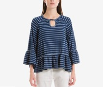 Max Studio London Cotton Striped Keyhole Sweater Top, Indigo