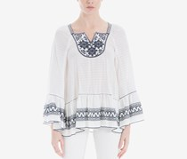 Max Studio London Embroidered Bell-Sleeve Top, White/Navy
