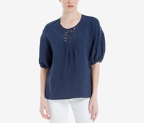 Max Studio London Cotton Elbow-Sleeve Top, Navy