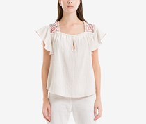 Max Studio London Embroidered Flutter-Sleeve Top, White