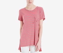 Max Studio London High-Low Emblem T-Shirt, Red
