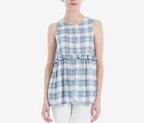 Max Studio London Ruffled Plaid Top, Navy