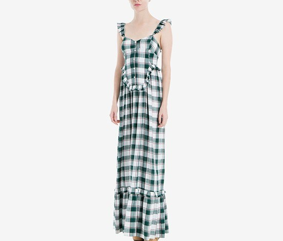 London Plaid Maxi Dress, Dark Green