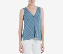 Max Studio London Striped V-Neck Top, Denim