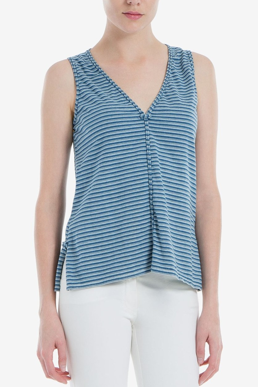London Striped V-Neck Top, Denim