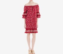 Max Studio London Cotton Ruffled Off-The-Shoulder Dress, Dark Red