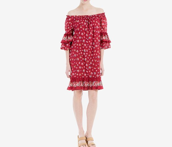 London Cotton Ruffled Off-The-Shoulder Dress, Dark Red