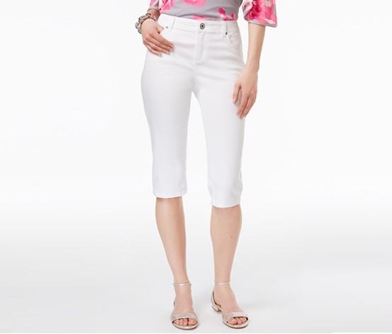 International Concepts Embroidered Curvy Cropped Jeans, White Denim