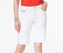 Inc International Concepts Curvy Denim Bermuda Shorts, White Denim