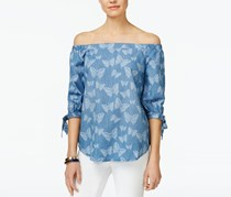 Inc International Concepts Off-The-Shoulder Tie-Cuff Top, Indigo