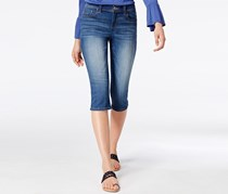 International Concepts Embroidered Cropped Jeans, Indigo