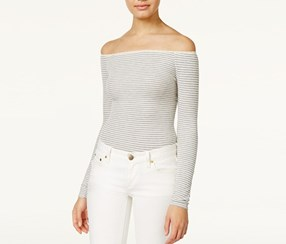 American Rag Striped Off-The-Shoulder Bodysuit, Grey Combo