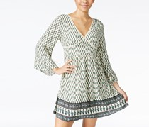 American Rag Printed Bell-Sleeve Peasant Dress, Egret Combo