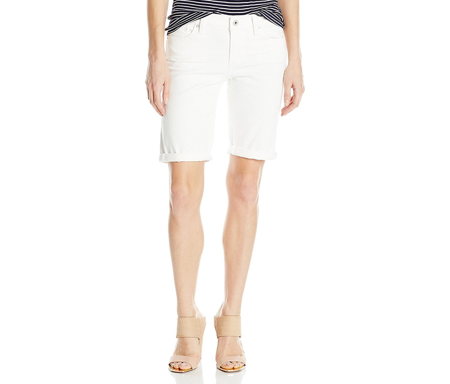 Lucky Brand Women's Denim Bermuda Short, White Cap