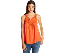 Lucky Brand Women's Solid Novelty Tank, Orange