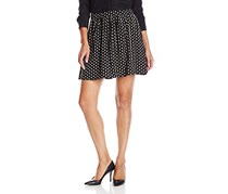 Printed Mini Skirt, Black