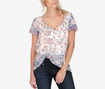 Lucky Brand Printed V-Neck Top, Natural Multi