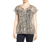 Lucky Brand Printed Peplum Top, Black Multi
