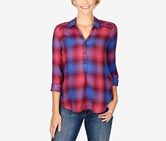 Lucky Brand Embroidered Plaid Top, Purple  Combo