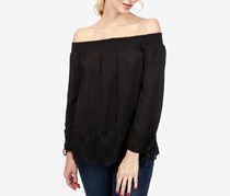 Lucky Brand Crochet-Detail Off-The-Shoulder Top, Black