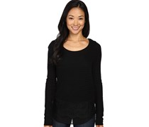 Lucky Brand Women's Lace Mix Sweater, Black