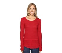 Lucky Brand Women's Lace Mix Sweater, Red