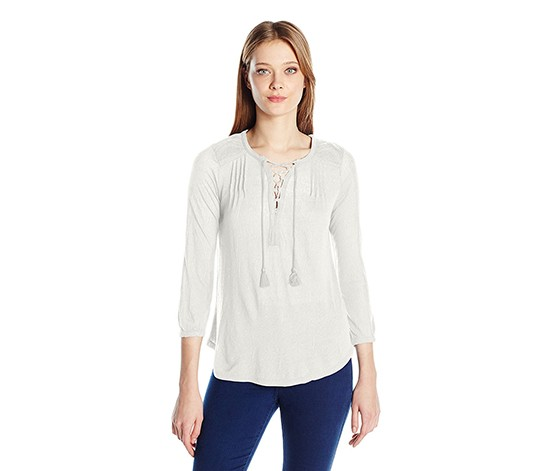 Lace-Up Peasant Top, Marshmallow