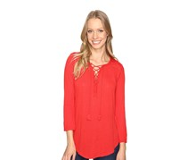 Lucky Brand Lace-Up Peasant Top, Coral Red
