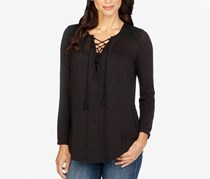 Lucky Brand Women's Lace-Up Peasant Top, Black