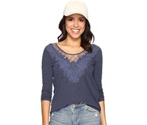 Lucky Brand Lace-Applique Top, Navy