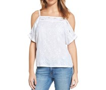 Lucky Brand Embroidered Cold-Shoulder Top, Bright White