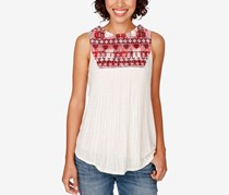 Lucky Brand Embroidered Ribbed Top, Natural