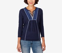Lucky Brand Embroidered Lace-Up Top, American Navy