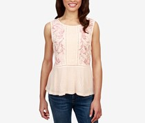 Lucky Brand Embroidered Ladder-Trim Top, Pale Peach
