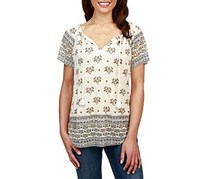 Lucky Brand Berries-Print Tasseled Top, Natural