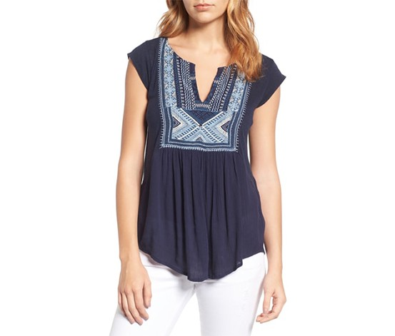 Embroidered Split-Neck Top, American Navy
