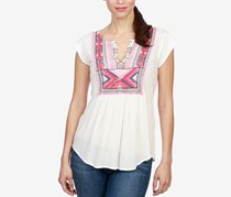 Lucky Brand Embroidered Split-Neck Top, Eggshell