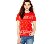 Lucky Brand Jeans Printed Graphic Tee,Red