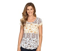 Lucky Brand Printed Zip-Back T-Shirt, Ivory Combo