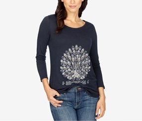 Women Embellished Graphic T-Shirt, Navy