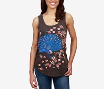 Lucky Brand Embroidered Peacock Top, Black Mountain