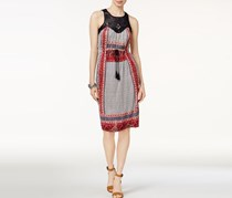 Lucky Brand Drawstring Macrame Dress, Red Combo