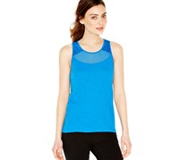 Lucky Brand Jeans Mesh Trim Scoop Neck Tank,Victoria Blue