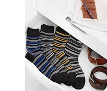 Men's Stripe Socks Set of 4, Black/Navy/Yellow/Blue